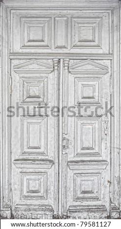 antique wooden white door old texture - stock photo