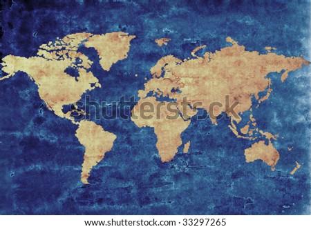 antique world map - stock photo