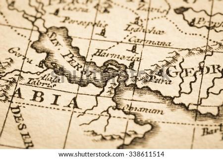 Antique world map persian gulf strait stock photo download now antique world map persian gulf and strait of hormuz gumiabroncs Gallery