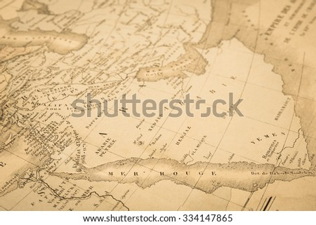 Antique world map, Red Sea