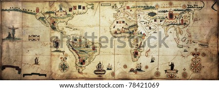 Antique world planisphere portolan map of Spanish and Portuguese maritime and colonial empire. Created by Antonio Sanches, published in Portugal, 1623 - stock photo