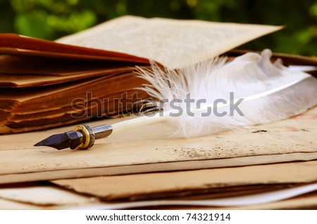 antique writing feather on the old book - stock photo
