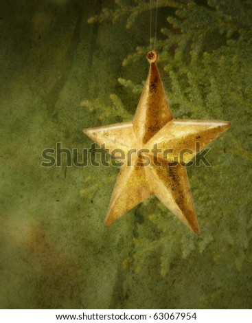 Antiqued Old vintage Star  with Muted colors texture and SOFT FOCUS - stock photo
