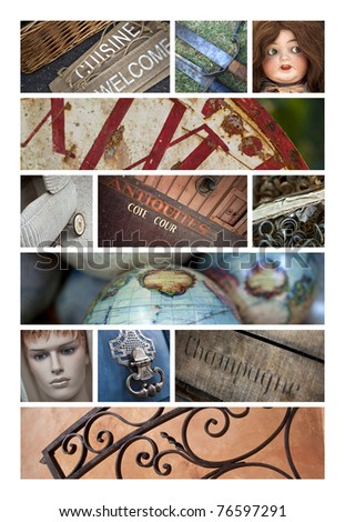 Antiques and flea market collage - stock photo
