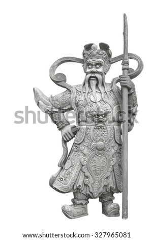 antiques Giant statue guarding the temple gate  WAT PHO, BANGKOK, THAILAND on isolated white background
