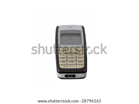 Antiques,   old cellular  phone. Isolated - stock photo