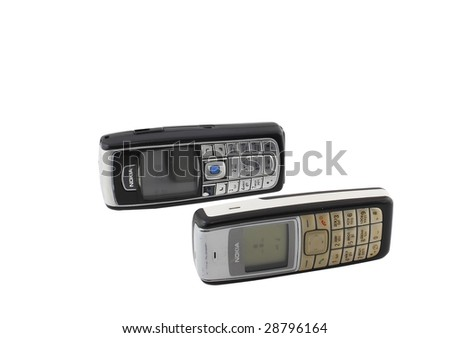 Antiques,   old cellular  phones. Isolated