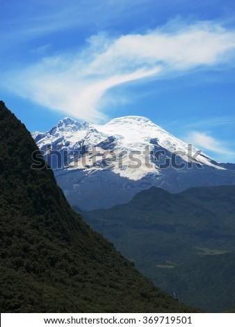 Antisana volcano, Andes mountains. View from the National Park Cayambe-Coca, Pichincha, Ecuador. Near Papallacta. - stock photo