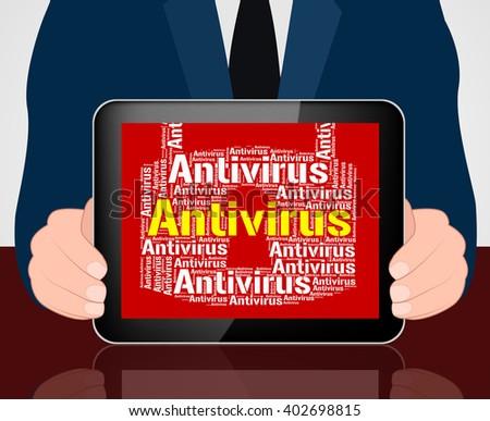Antivirus Lock Representing Malicious Software And Shield - stock photo