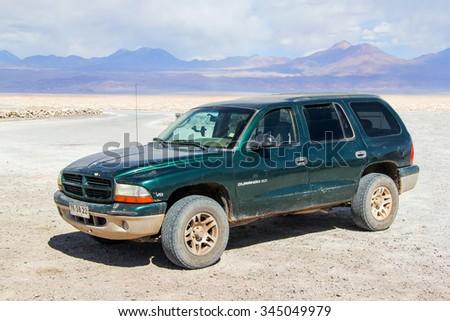 ANTOFAGASTA, CHILE - NOVEMBER 15, 2015: Motor car Dodge Durango in the saline land. - stock photo