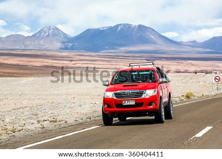 ANTOFAGASTA, CHILE - NOVEMBER 15, 2015: Pickup truck Toyota Hilux at the interurban freeway. - stock photo