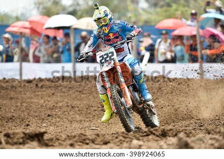 Antonio Cairoli no.222 Team Red Bull KTM Factory Racing in competes during  Race1 MXGP class the FIM Motocross Wolrd Championship Grand Prix of Thailand on March 06,2016 in Thailand.