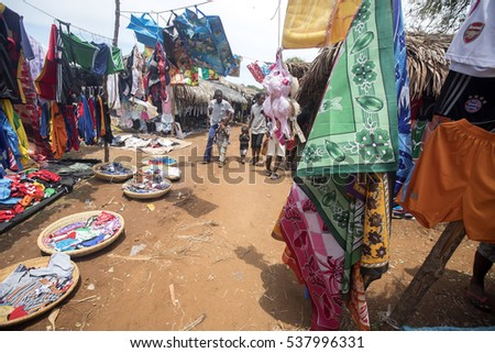 ANTOSOHILY MADAGASCR, NOVEMBER 4.2016, colorful marketplaces on the main road, near Antsohihy, Antsohihy, Madagascar November 4th 2016