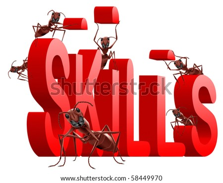 ants building red 3D word skills metaphor for training and developing talents - stock photo