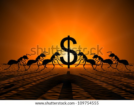 Ants holding Dollar against the sun,showing their teamwork for successful earning. - stock photo