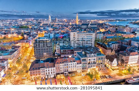 Antwerp, Belgium. Aerial city view at night. - stock photo