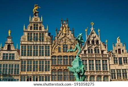 ANTWERP, BELGIUM - 21 APRIL, 2013: Nice houses in the old town of Antwerp, Belgium on 21 April, 2013. Antwerp is the second most populous city in Belgium.  - stock photo