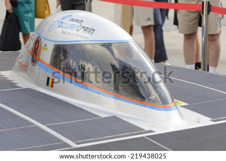 Antwerp, Belgium - August 9, 2014: The Belgian solar-powered vehicle that took part at the Antwerp exposition Solar Tour Alternative Energy for Mobility Zero Emission. On August 9, 2014. Belgium. - stock photo
