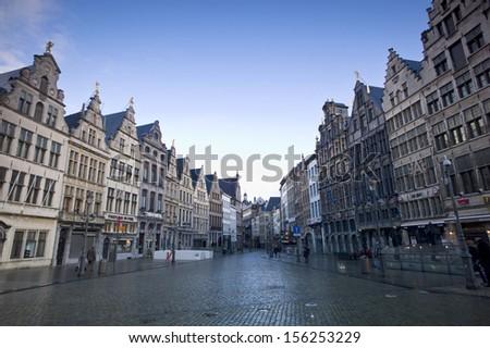 ANTWERP, BELGIUM - DEC 20: Guild Houses of the 15th century in the Grote Market of Antwerp on December 20, 2012. The Grote Market is the Main Square of the city.  - stock photo