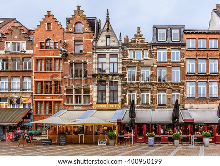 Antwerp, Belgium - January 18, 2015: Antwerp cityscape with traditional brick houses on Groenplaats, historic square near Cathedral of Our Lady