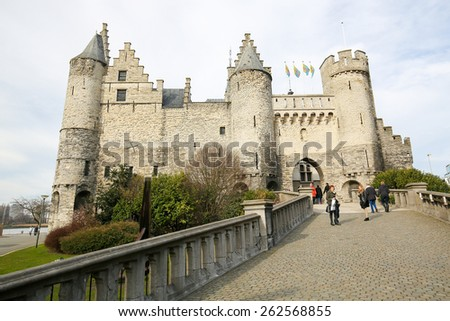 ANTWERP, BELGIUM - MARCH 7, 2015: Het Steen is a medieval fortress in the old city of Antwerp. It is Antwerp's oldest building and used to be its urban centre. - stock photo