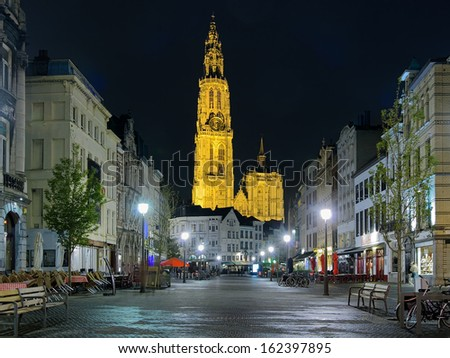 ANTWERP, BELGIUM - MAY 24: Cathedral of Our Lady at night on May 24, 2013 in Antwerp, Belgium. The cathedral was completed in 1521 and this is the highest church in the Benelux with 123 m of height.