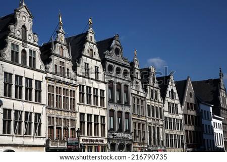 ANTWERP, BELGIUM - 12 Sep, 2014: Nice houses in the old town of Antwerp, Belgium on 12 Sepl, 2014. - stock photo