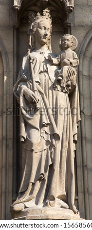 ANTWERP, BELGIUM - SEPTEMBER 5: Madonna statue on the main portal on the cathedral of Our Lady on September 5, 2013 in Antwerp, Belgium