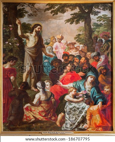 ANTWERP, BELGIUM - SEPTEMBER 4, 2013: Sermon of st. John the Baptist by Van Balen H. de Oude (1560-1632)  in the cathedral of Our Lady. - stock photo