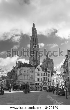 ANTWERP, BELGIUM - 15th of February 2014: Old town in ANTWERP, BELGIUM on 15th of February 2014 - stock photo