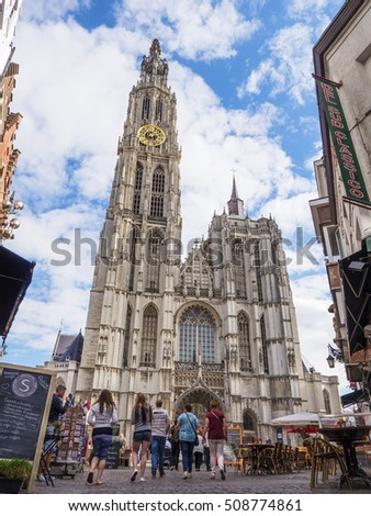 ANTWERP, BELGIUM. The Cathedral of Our Lady is a Roman Catholic cathedral in Antwerp.