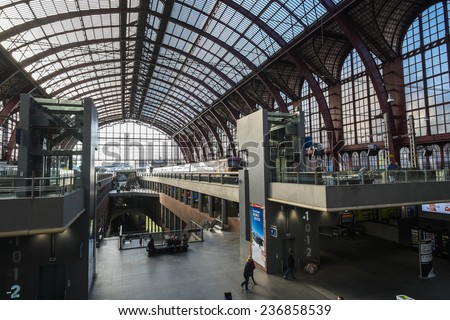 ANTWERP, FLANDERS, BELGIUM - November 13th 2014 - The Interior of Antwerp Central Station