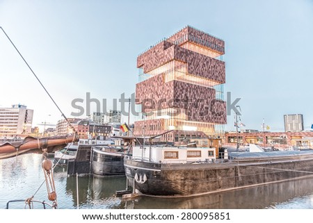 ANTWERP - MAY 3: Museum aan de Stroom (MAS) along the river Scheldt in the Eilandje district of Antwerp, Belgium, on May 3, 2015. Opened in May 2011, is the largest museum in Antwerp - stock photo