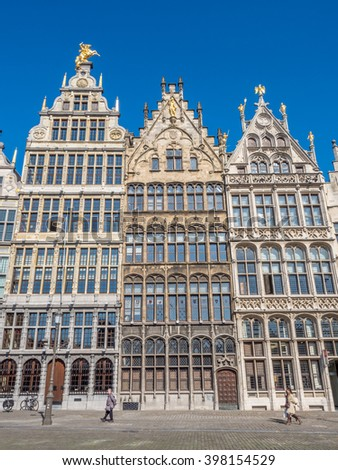 ANTWERP - OCTOBER 1: Facades of monumental houses in the city center of Antwerp, Belgium, under clear blue sky in sunny good weather day in autumn, was taken on October 1, 2015.