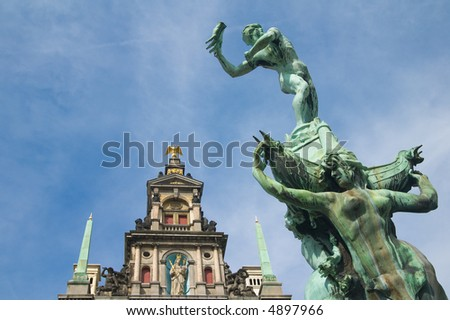 Antwerp's city hall with the symbolic statue of Antwerp in front - stock photo