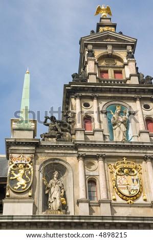 Antwerp's Renaissance City Hall - stock photo