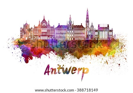 Antwerp skyline in watercolor splatters with clipping path - stock photo