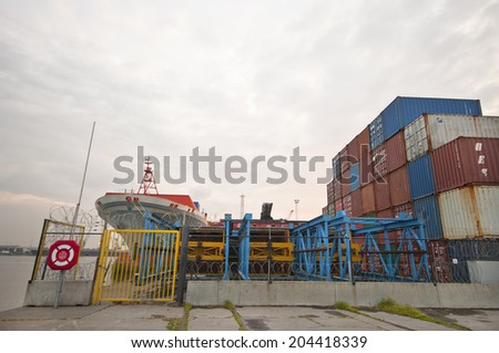 ANTWERPEN, BELGIUM-CIRCA MAY 2014: Container depot in the Antwerpen port