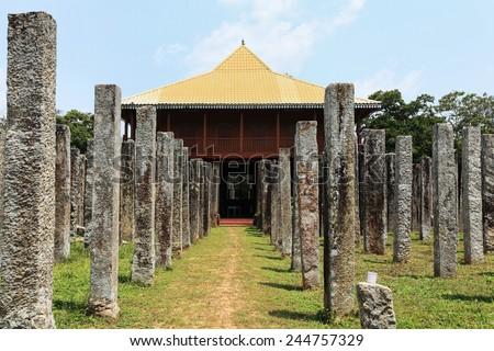 Anuradhapura, stone columns in gardens arround dagoba, Sri Lanka - stock photo