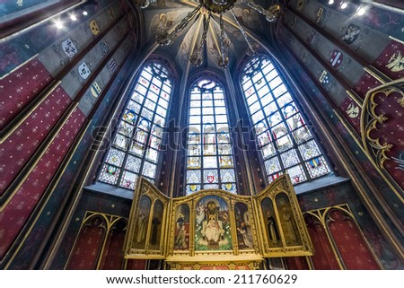 ANVERS, BELGIUM - AUGUST 03, 2014 : Interiors, paintings and details of Notre dame d'Anvers cathedral,   August 3, 2014,  in  Anvers, Belgium
