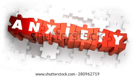 Anxiety - Word on Red Puzzles. 3D Render. - stock photo
