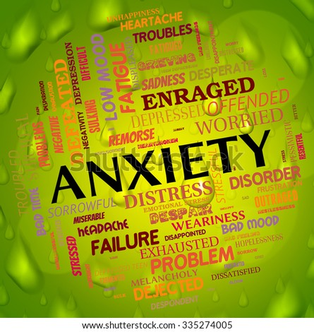 Anxiety Word Showing Agitation Worry And Unease - stock photo