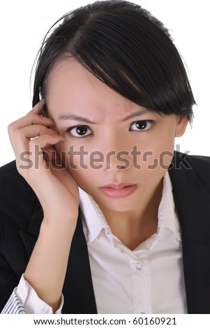 Anxious business woman face, closeup portrait of Asian office lady on white background. - stock photo