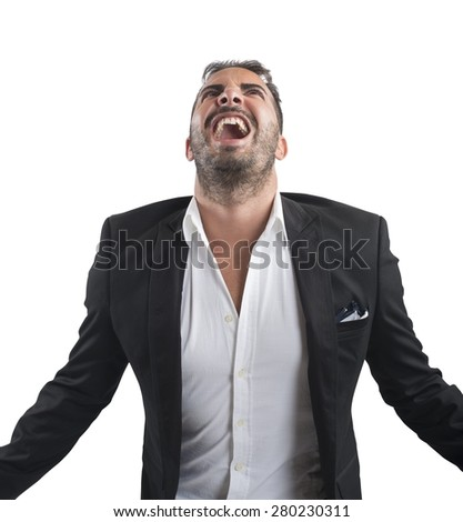 Anxious businessman stressed out from work screams