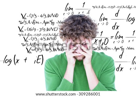 Anxious casual man looking at camera against maths equation - stock photo