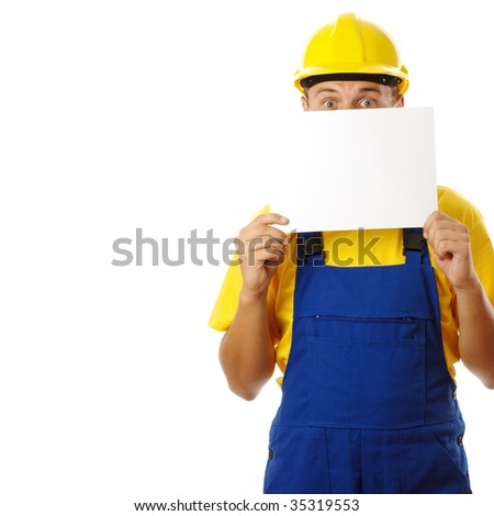 Anxious worker showing blank message, isolated over white - stock photo