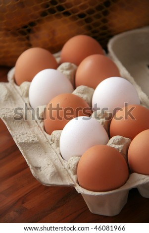 any different colored eggs in a paper carton - stock photo