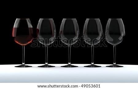 Any glasses of wine. White, blush, burgundy. Vector illustration using gradient meshes. - stock photo