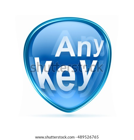 Any Key icon blue, isolated on white background