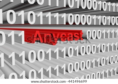 Anycast in the form of binary code, 3D illustration - stock photo